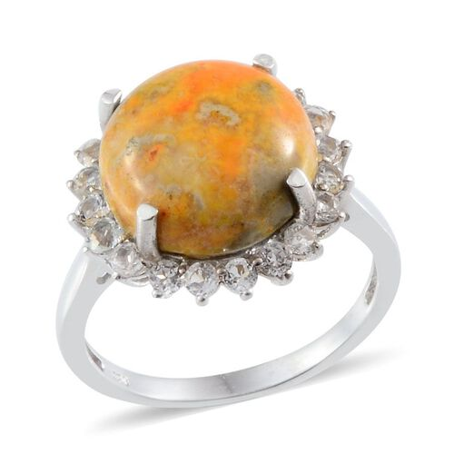 Bumble Bee Jasper (Rnd 8.50 Ct), White Topaz Ring in Platinum Overlay Sterling Silver 9.650 Ct.