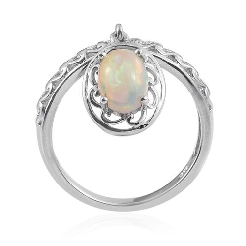 Ethiopian Welo Opal (Ovl) Ring in Platinum Overlay Sterling Silver 0.900 Ct.