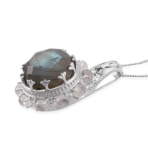 Tribal Collection of India Labradorite (Rnd 11.70 Ct), Rainbow Moonstone and Kanchanaburi Blue Sapphire Pendant With Chain in Platinum Overlay Sterling Silver 13.750 Ct.