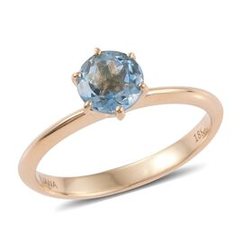 ILIANA 18K Yellow Gold 0.75 Carat Santa Maria Aquamarine Solitaire Ring