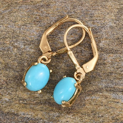 Sonoran Turquoise (Ovl) Lever Back Earrings in 14K Gold Overlay Sterling Silver 2.000 Ct.