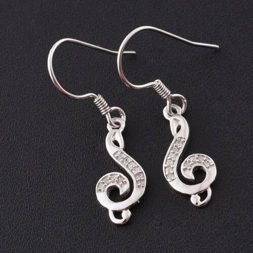 0.10 Carat Diamond Musical Note Hook Earrings in Platinum Overlay Sterling Silver