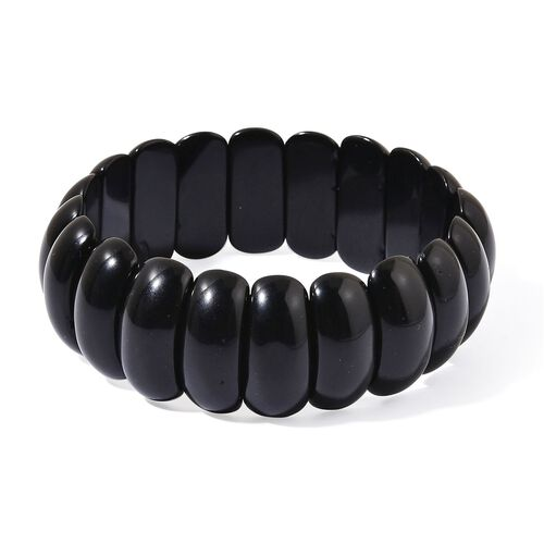 Black Agate Stretchable Bracelet (Size 6.5 to 9) 327.150 Ct.