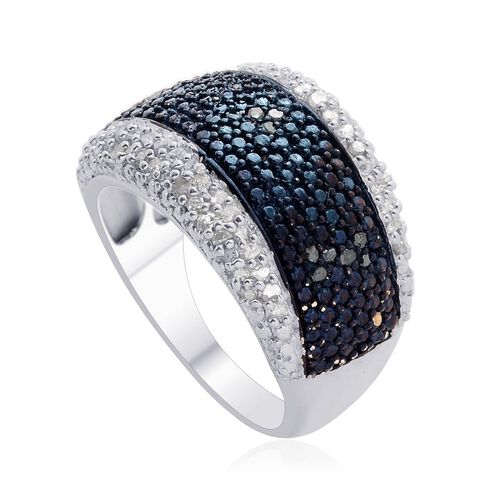 Blue Diamond (Rnd), Diamond Ring in Platinum Overlay Sterling Silver 0.500 Ct.