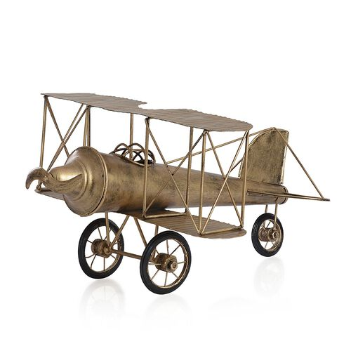 Home Decor - Golden Colour Handmade Aeroplane with Two Fins