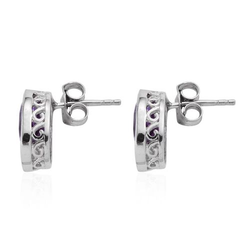 Lavender Alexite (Ovl) Earrings (with Push Back) in Platinum Overlay Sterling Silver 2.500 Ct.