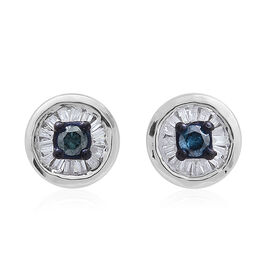 Blue Diamond (Rnd), White Diamond Stud Earrings (with Push Back) in Platinum Overlay Sterling Silver 0.250 Ct.