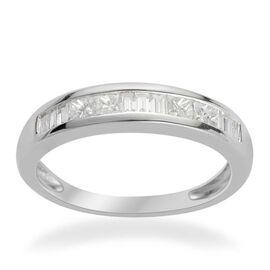 RHAPSODY 950 Platinum IGI Certified Diamond (Sqr) (VVS-VS/E-F) Half Eternity Band Ring 0.500 Ct.