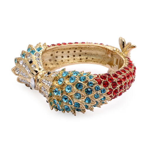 Multi Colour Austrian Crystal Bangle (Size 7.5) in Gold Tone