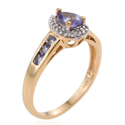 Tanzanite (Pear 0.65 Ct), Diamond Ring in 14K Gold Overlay Sterling Silver 1.250 Ct.