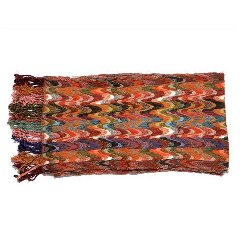 Multi Colour Wave Pattern Stretchable Scarf (Size 35x180 Cm)