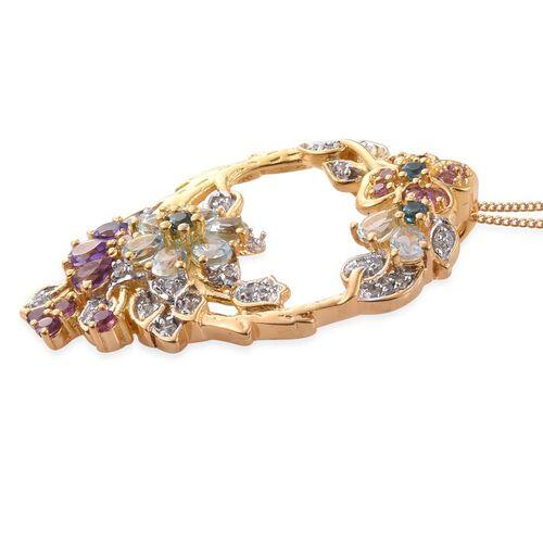 GP Sky Blue Topaz (Pear), Amethyst, Rhodolite Garnet, Kanchanaburi Blue Sapphire and Multi GemStone Pendant with Chain in 14K Gold Overlay Sterling Silver