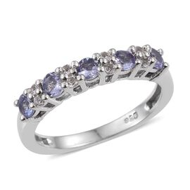 Tanzanite (Rnd), White Topaz Stacker Ring in Platinum Overlay Sterling Silver 0.750 Ct.