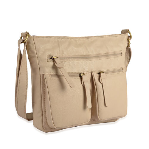 Genuine Leather RFID Blocker Beige Colour Sling Bag with 3 External Zipper Pockets and Adjustable Shoulder Strap (Size 28X24X5 Cm)