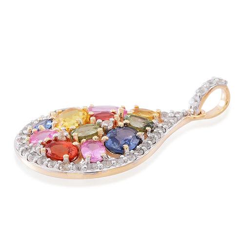 9K Y Gold AAA Rainbow Sapphire (Ovl), Natural Cambodian White Zircon Drop Pendant 4.750 Ct.