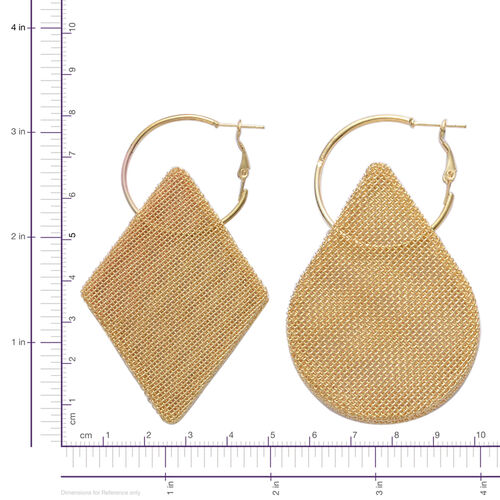 Set of 2 - Mesh Hoop Earrings in Gold Tone