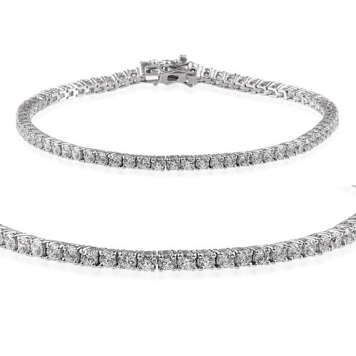 J Francis - Platinum Overlay Sterling Silver (Rnd) Bracelet Made With SWAROVSKI ZIRCONIA (Size 8)