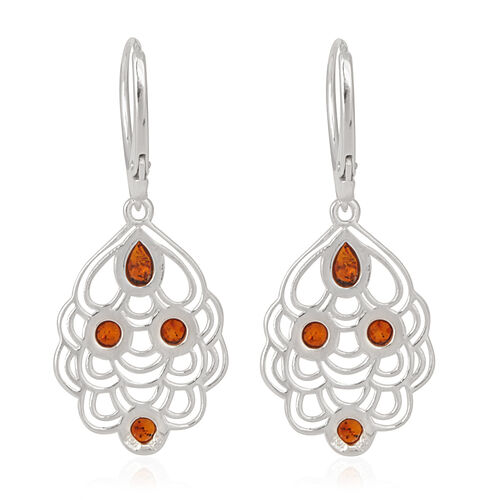 Amber Lever Back Earrings in Rhodium Plated Sterling Silver 2.000 Ct.