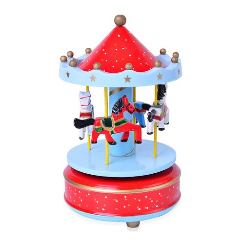 Home Decor - Handcrafted Red and Blue Colour Wooden Horse Carousel Music Box (Size 18X10 Cm)