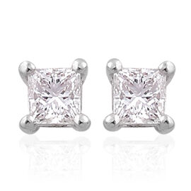 RHAPSODY 950 Platinum 0.25 Carat IGI certified Princess Diamond VS/F Solitaire Stud Earrings with Screw Back.