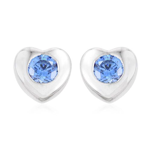 J Francis - Platinum Overlay Sterling Silver (Rnd) Heart Stud Earrings (with Push Back) Made with Blue SWAROVSKI ZIRCONIA