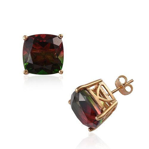 Tourmaline Colour Quartz (Cush) Stud Earrings (with Push Back) in 14K Gold Overlay Sterling Silver 14.000 Ct.
