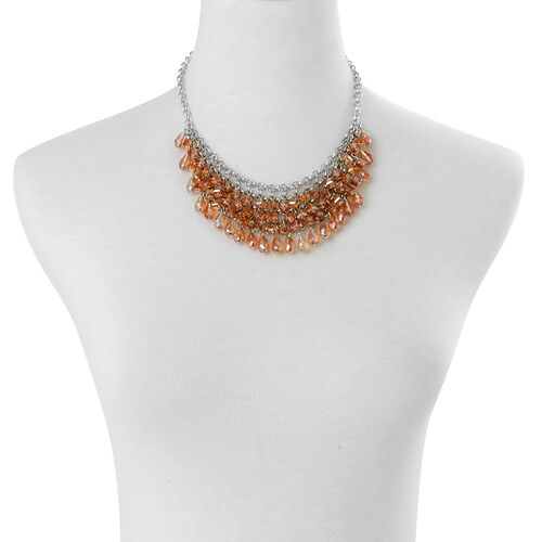 Orange Glass Necklace (Size 18) in Silver Tone