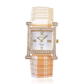 STRADA Japanese Movement White Dial with White Austrian Crystal Water Resistant Watch in Gold Tone with Stainless Steel Back and Light Orange Strap