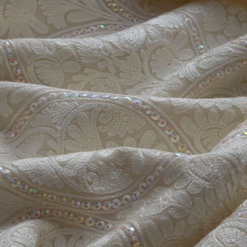 100% Merino Wool Flowers and Mystic Sequins Embroidered Cream Colour Scarf with Fringes at the Bottom (Size 200x70 Cm)