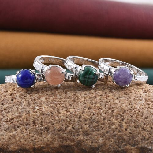 Set of 4 - Malachite (Rnd 1.50 Ct), Purple Opal, Morogoro Peach Sun Stone and Lapis Lazuli Solitaire Ring in ION Plated Platinum Bond 5.000 Ct.