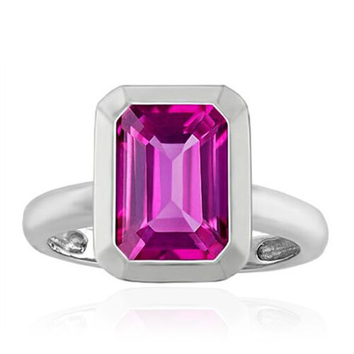 9K W Gold Pink Sapphire (Oct) Solitaire Ring 1.000 Ct.