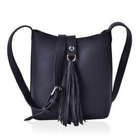 Black Colour Crossbody Bag with Adjustable Shoulder Strap and Tassels (Size 21x20x9 Cm)