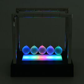 Newtons Cradle with Multi Colour LED Shining Light Balls