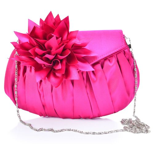 Fuchsia Colour Satin Clutch with Dahlia Flower and Removable Chain Strap (Size 23x15 Cm)