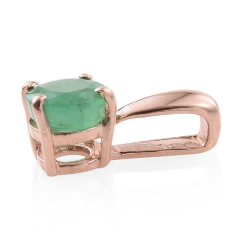 Zambian Emerald 0.50 Carat Silver Solitaire Pendant in Rose Gold Overlay