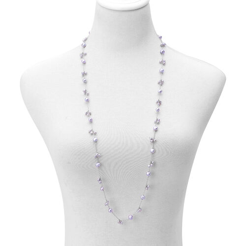 Fresh Water Silver Grey Pearl Necklace (Size 36) in Sterling Silver
