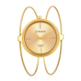STRADA Japanese Movement Gold Colour Sunshine Pattern Dial Bangle Watch in Gold Tone with Stainless Steel Back