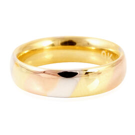 Limited Available Hand Polish Tri Coloured Royal Bali Collection 9K Gold Band Ring