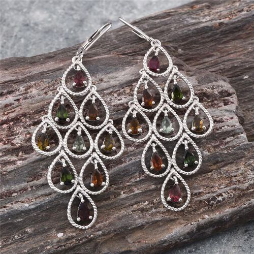 Rainbow Tourmaline (Pear) Lever Back Earrings in Platinum Overlay Sterling Silver 3.750 Ct.