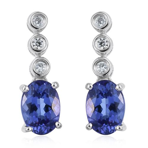 ILIANA 18K W Gold AAA Tanzanite (Ovl), Diamond Earrings (with Screw Back) 1.750 Ct.