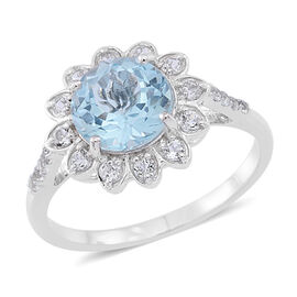 Sky Blue Topaz (Rnd 3.50 Ct), White Topaz Floral Ring in Rhodium Plated Sterling Silver 4.250 Ct.