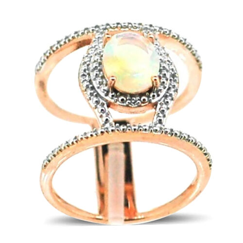 Ethiopian Welo Opal (Ovl 1.03 Ct), White Topaz Ring in 14K Rose Gold Overlay Sterling Silver 1.050 Ct.
