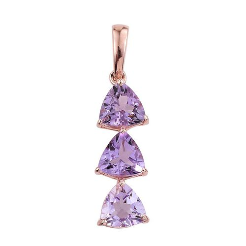 Rose De France Amethyst (Trl) Trilogy Pendant in Rose Gold Overlay Sterling Silver 3.000 Ct.