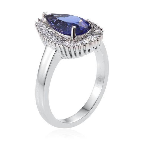 RHAPSODY 950 Platinum AAAA Tanzanite Pear 2 Carat, Diamond Engagement Ring 2.900 Ct. with VS E-F Diamonds.