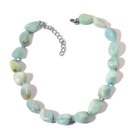 Russian Amazonite Necklace (Size 18 with 2 inch Extender) in Stainless Steel 735.000 Ct.