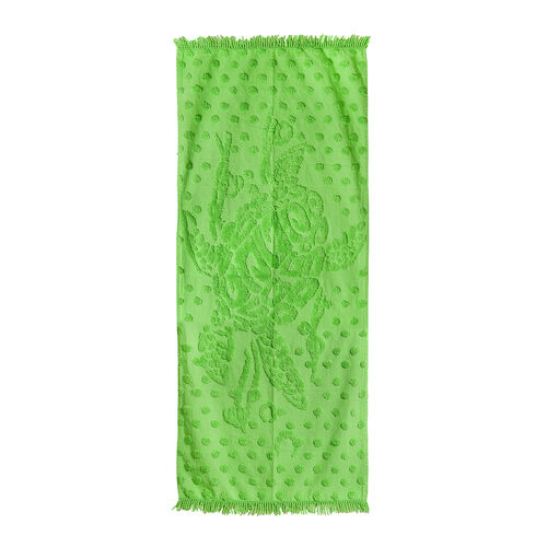 100% Cotton Tufted Sea Turtle Green Beach Blanket with Fringes on Both Ends (Size 175x80 Cm)