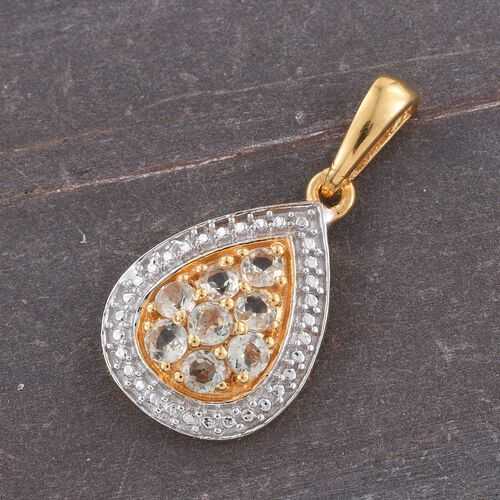 Natural Turkizite (Rnd) Pendant in 14K Gold Overlay Sterling Silver 0.500 Ct.
