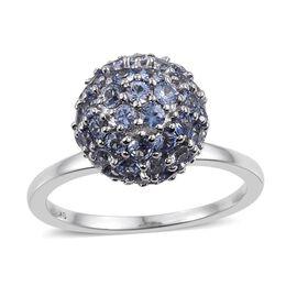 9K White Gold 3.00 Carat AA Ceylon Blue Sapphire Ball Ring
