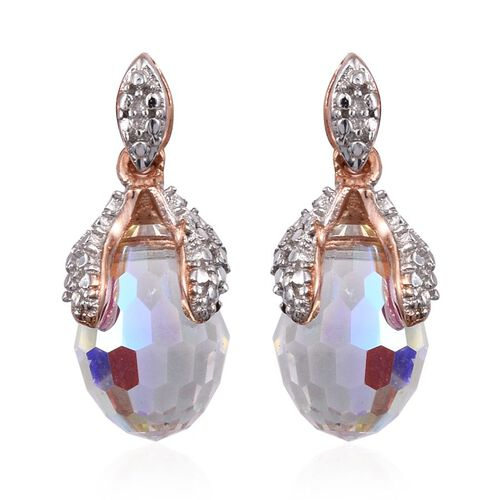 Crystal from Swarovski - AB Crystal Earrings (with Push Back) in Rose Gold Overlay Sterling Silver