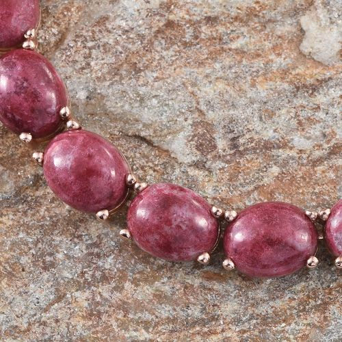 Norwegian Thulite (Ovl) Necklace (Size 18) in Rose Gold Overlay Sterling Silver 45.000 Ct.
